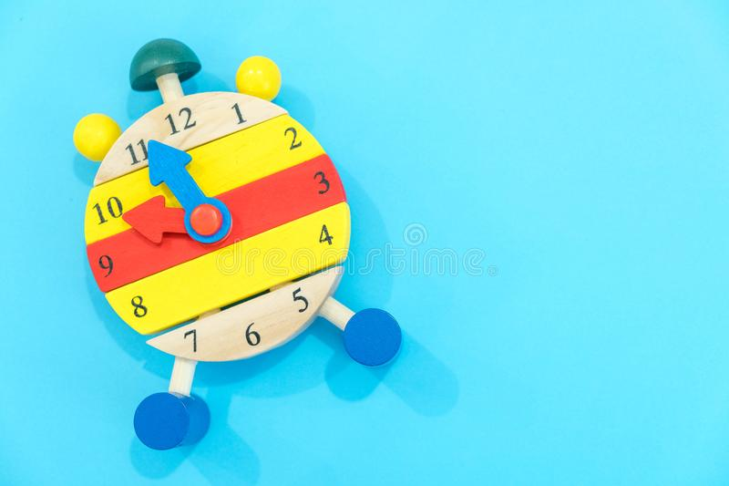 12 o`clock. Time management concept. Close-up Of Alarm Clock. back to school. Banner for Change your clocks message. Creative desk royalty free stock image