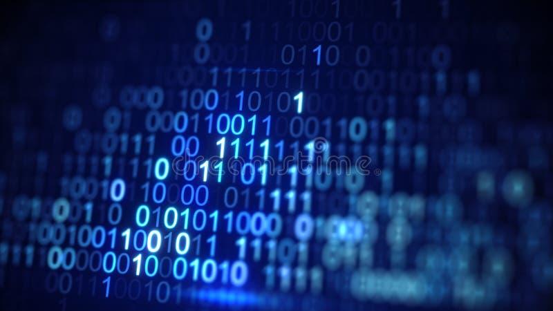 O close-up azul do código de dados binários de Digitas disparou com DOF ilustração do vetor
