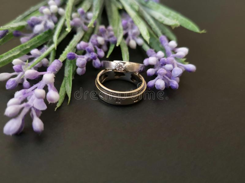 O close up com alian?as de casamento e as rosas bonitas florescem o fundo imagem de stock royalty free
