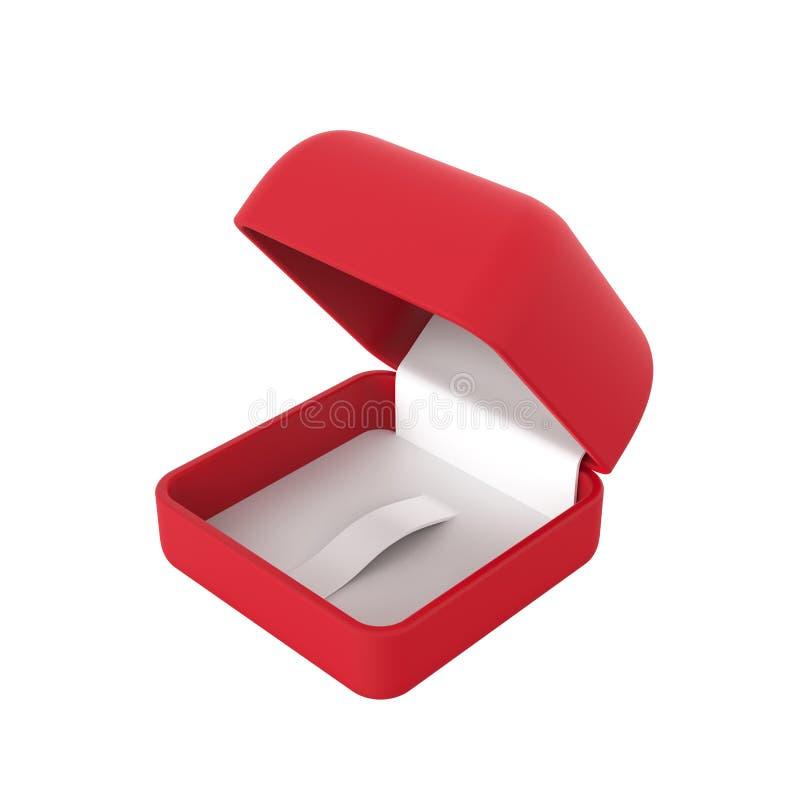 o close up da ilustração 3D isolou a caixa vermelha vazia para o anel ilustração stock