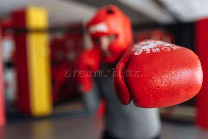 O close-up da luva de encaixotamento, o pugilista masculino contratou no treinamento no gym, em uma gaiola para uma luta sem regr foto de stock
