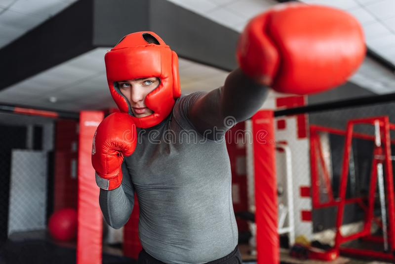 O close-up da luva de encaixotamento, o pugilista masculino contratou no treinamento no gym, em uma gaiola para uma luta sem regr imagens de stock