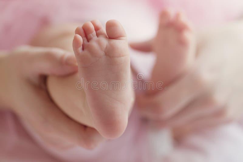 O close up da mãe entrega guardar os pés minúsculos bonitos do bebê, mostrando o bab imagem de stock royalty free