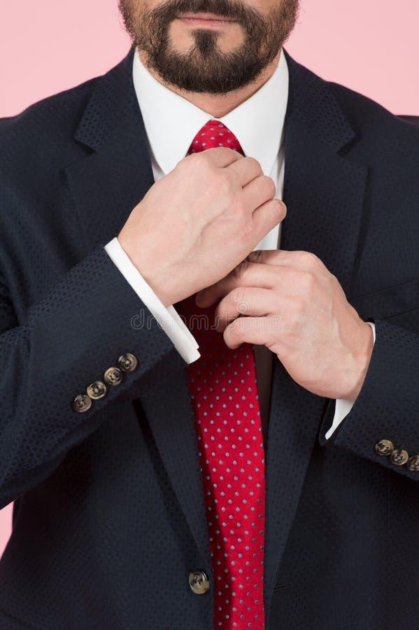 O close up das mãos do homem toma o laço vermelho Fim acima do nó do vermelho do laço das mãos Mãos do homem de negócios e terno  imagens de stock