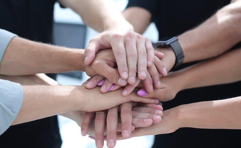 O close up de colegas de um negócio com suas mãos empilhou o togeth imagem de stock royalty free