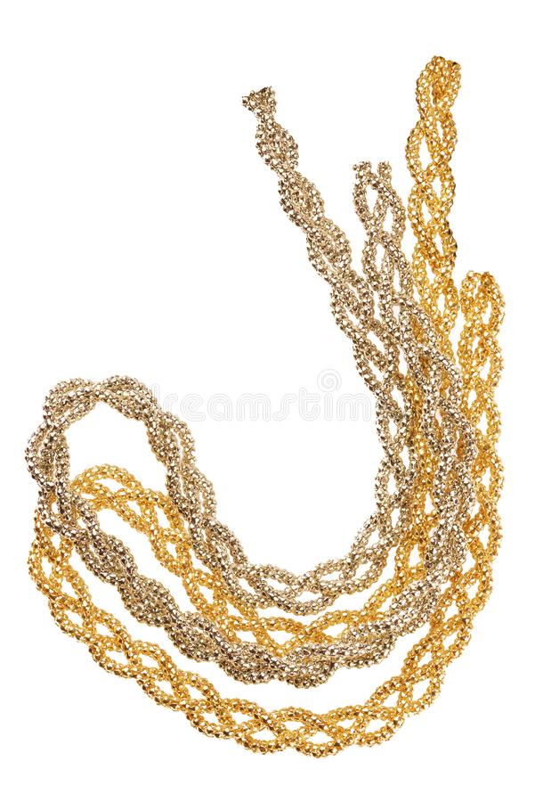 O close-up de dois tipos diferentes e as cores de uma faixa metálica dourada feita do múltiplo teceram fibras douradas, artigo da imagem de stock