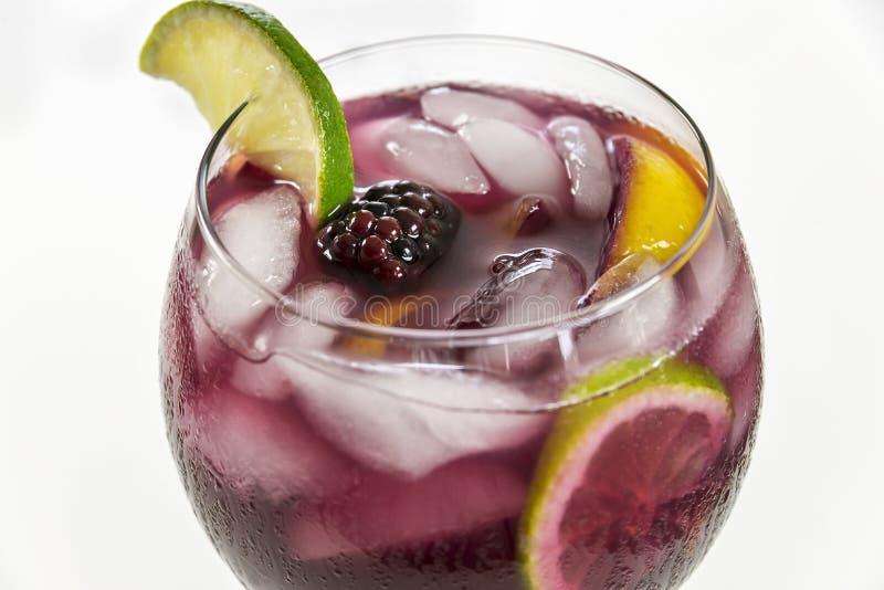 O close-up de um grande vidro de vinho do fruto encheu a sangria vermelha fotografia de stock royalty free
