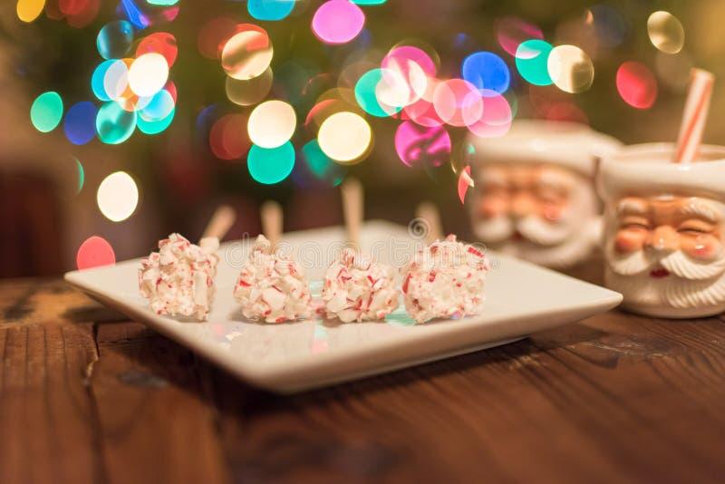 O close up dos doces revestiu marshmallows e canecas para o cacau quente foto de stock royalty free