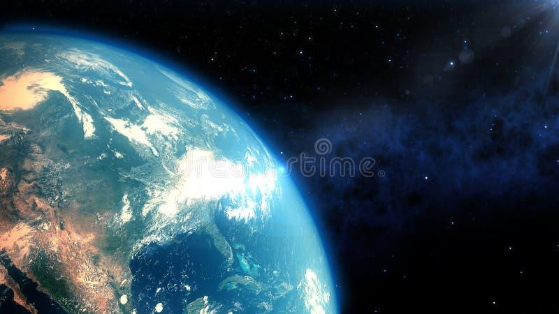 O close up realístico da terra rende ilustração do vetor