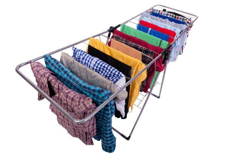 O clotheshorse dobrável isolado no fundo branco imagens de stock