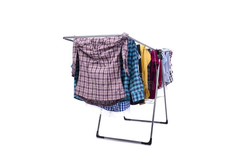 O clotheshorse dobrável isolado no fundo branco imagem de stock