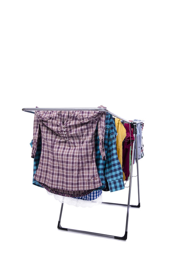 O clotheshorse dobrável isolado no fundo branco imagem de stock royalty free