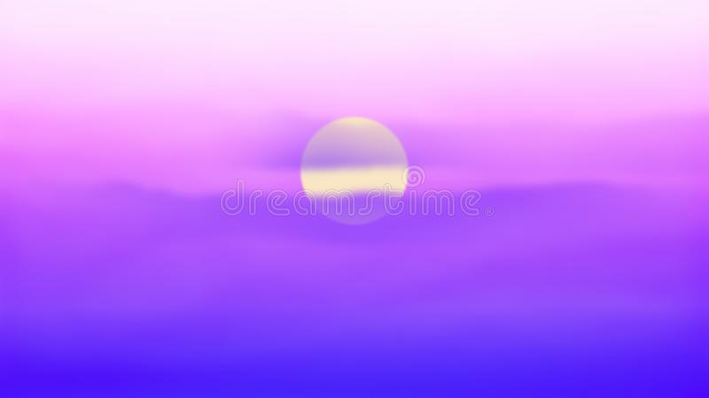 O cloudscape bonito sobre o mar, nascer do sol disparou no por do sol Incredibly bonito Sun, c?u, lago Por do sol ou paisagem do  ilustração stock