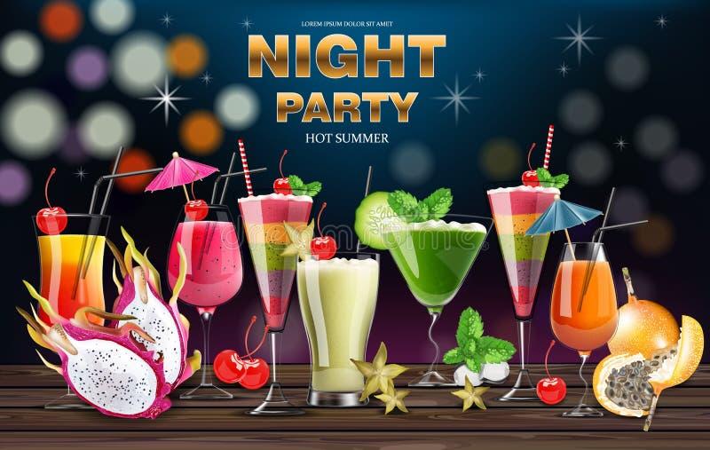 O cocktail bebe a bandeira realística do vetor Molde do partido da noite com coleção das bebidas do verão ilustrações 3D ilustração do vetor