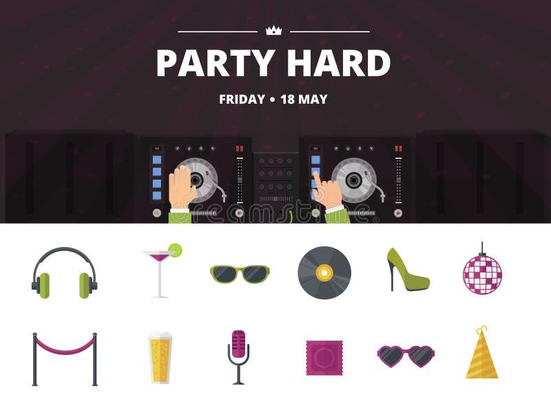 O cocktail do clube noturno, grupo do ícone da música do disco, vector o plano ilustração stock