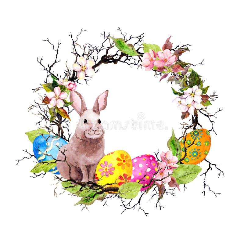 O coelhinho da Páscoa com ovos coloridos, ramos, mola sae, empluma-se Grinalda do vintage watercolor ilustração do vetor