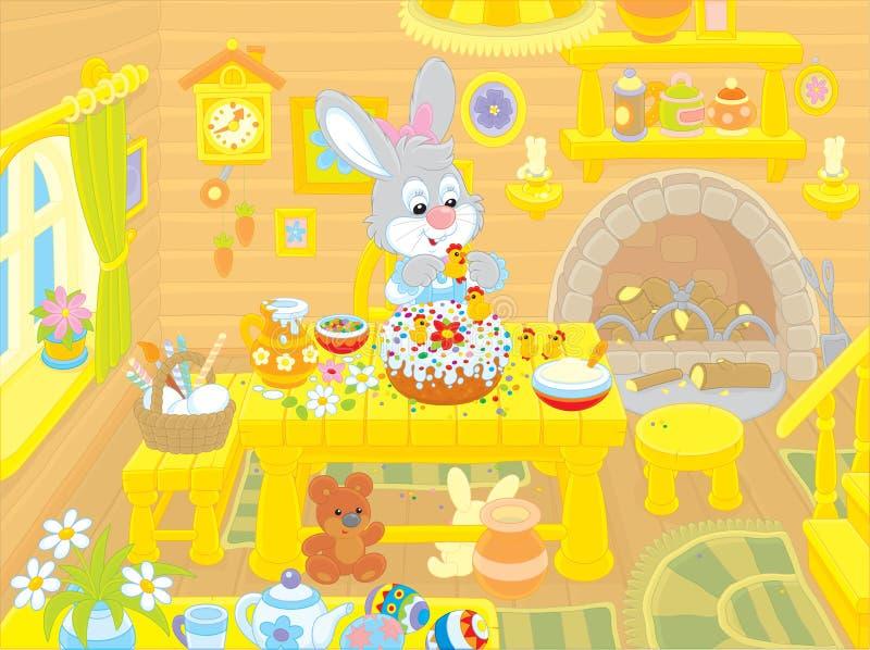 O coelhinho da Páscoa cozinha um bolo ilustração royalty free
