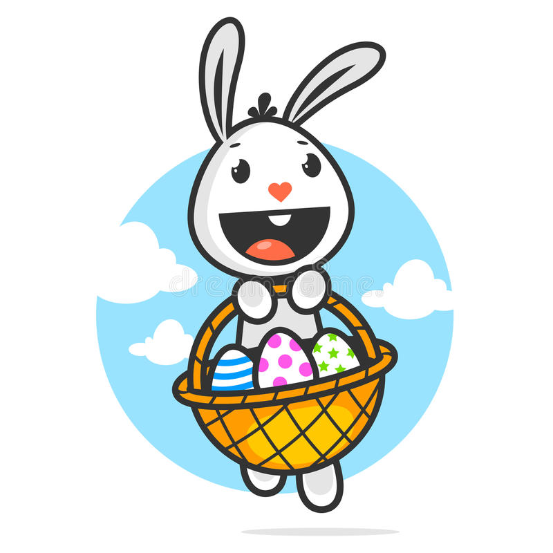 O coelhinho da Páscoa feliz guarda a cesta com ovos ilustração do vetor