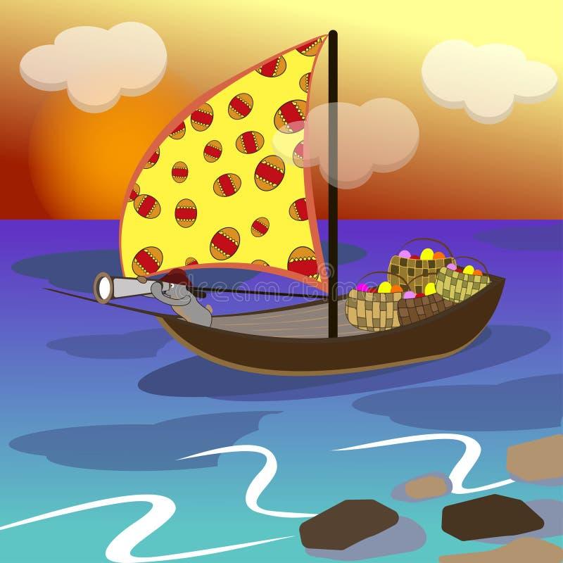 O coelhinho da Páscoa nada em um veleiro ilustração do vetor