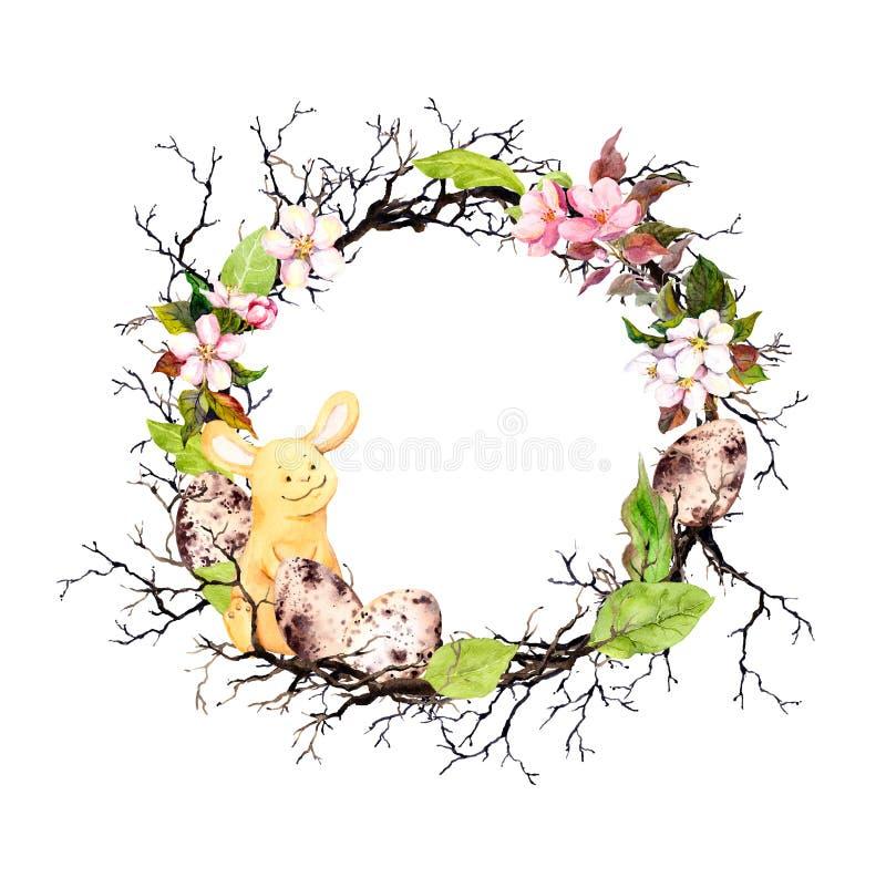 O coelhinho da Páscoa, ovos, ramos, mola floresce, as folhas Grinalda floral para a Páscoa Festão redonda da aquarela ilustração do vetor