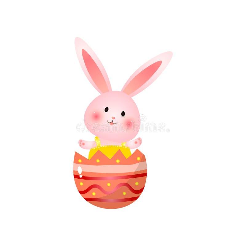 O coelhinho da Páscoa rosado bonito que senta-se em escudo quebrado do ovo acena as mãos isoladas no fundo branco ilustração do vetor