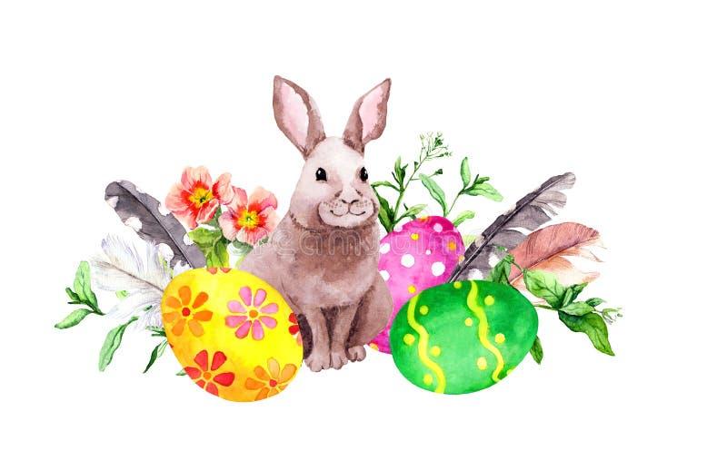 O coelhinho da P?scoa com ovos coloridos, grama, a?afr?o floresce, empluma-se watercolor ilustração stock