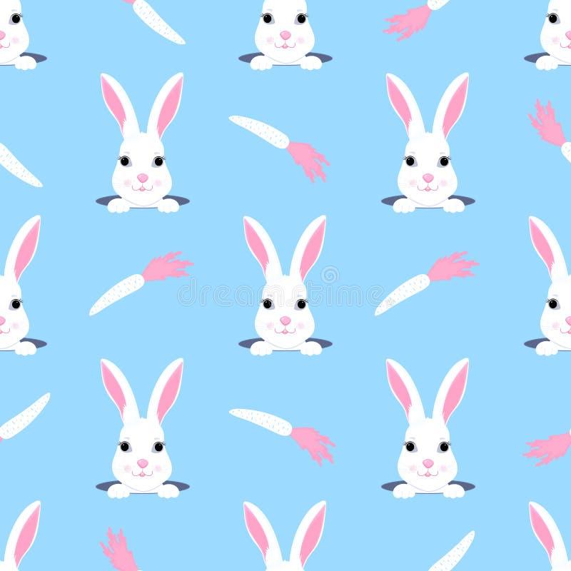 O coelhinho da P?scoa olha fora do furo Teste padrão sem emenda criançola do coelho e da cenoura Pode ser usado para a decoração  ilustração do vetor