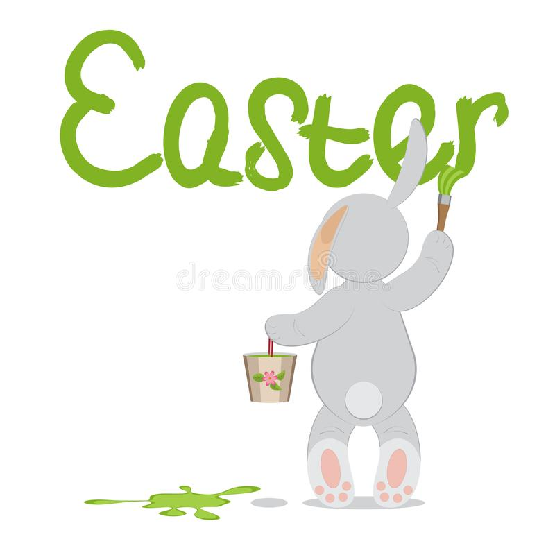 O coelho bonito do feriado está com uma cubeta da pintura e de um b de escrita ilustração royalty free