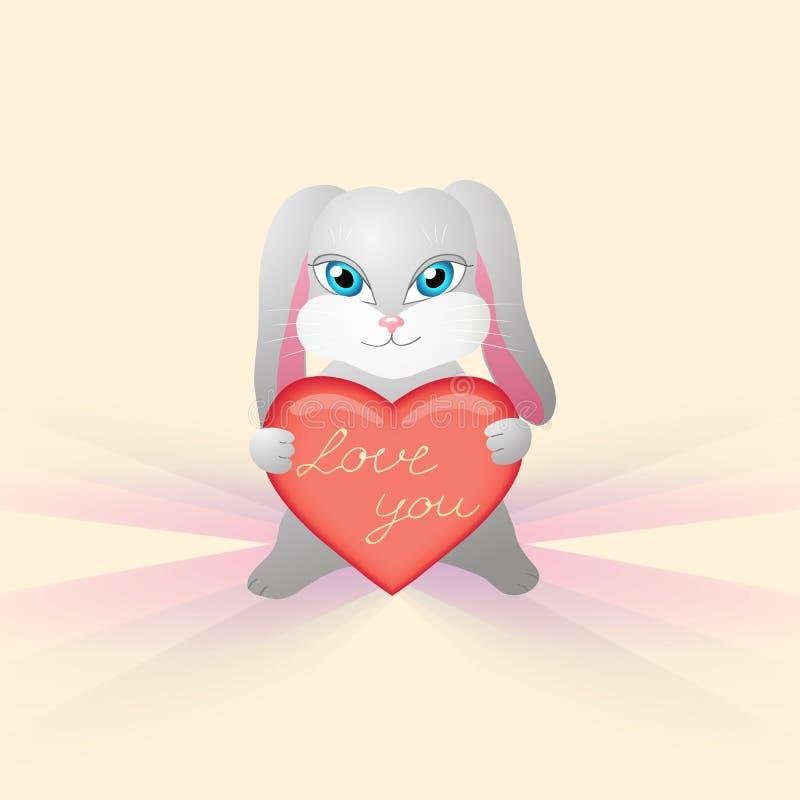 O coelho bonito realiza em seu coração das patas com a inscrição ilustração royalty free