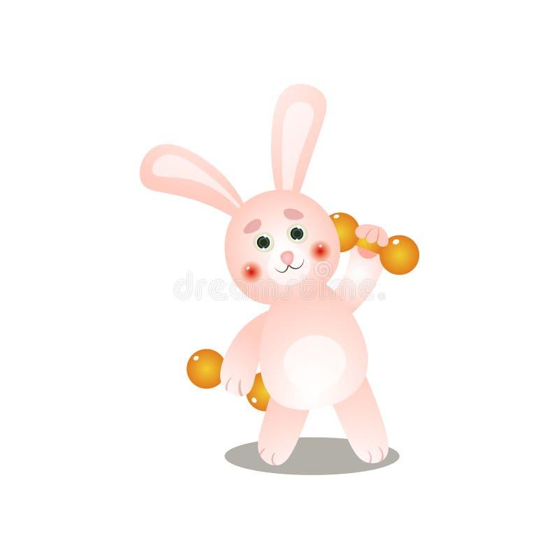 O coelho cor-de-rosa bonito faz o esporte da manhã com peso do metal ilustração royalty free