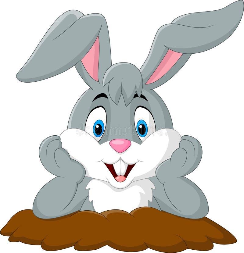 O coelho dos desenhos animados sai do furo ilustração stock