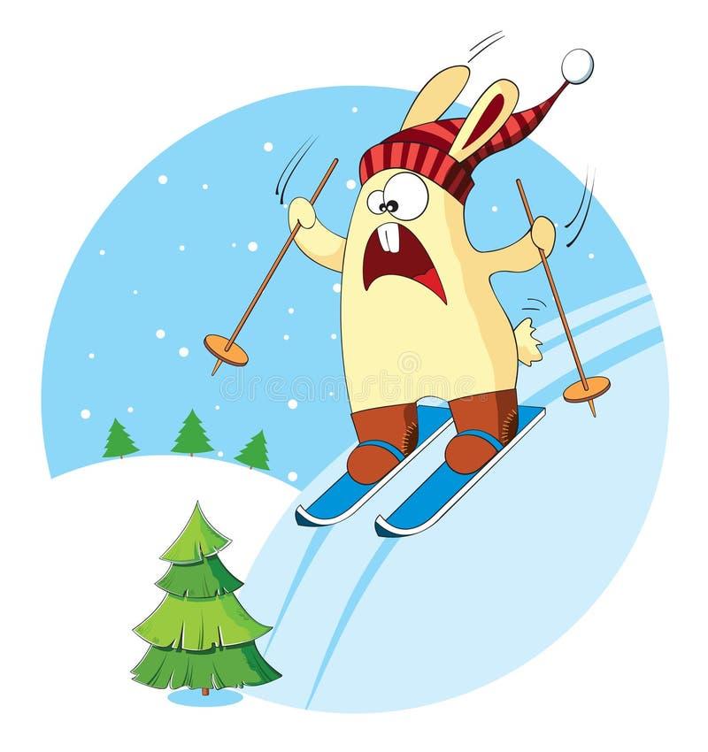O coelho dos desenhos animados vai esquiar ilustração stock