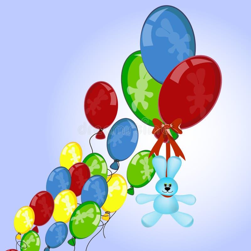 O coelho flutua com balões ilustração stock
