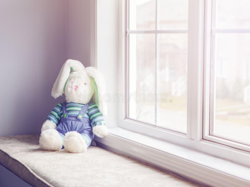 O coelho macio do brinquedo do luxuoso que senta-se perto da janela tonificou com filtros foto de stock royalty free