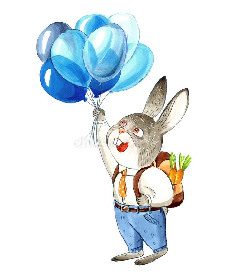 O coelho pequeno cinzento na camisa e nas calças de brim está olhando o balão azul