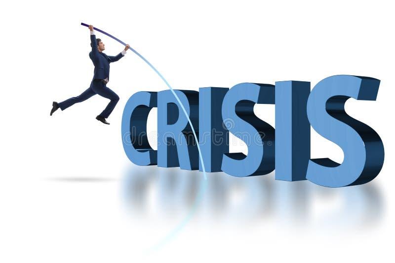 O cofre-forte do homem de negócios que salta sobre a crise ilustração stock