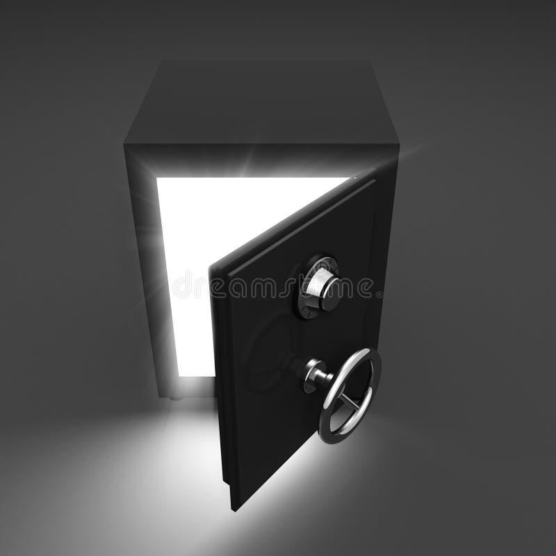 O cofre forte e o volume de abertura iluminam-se no fundo escuro ilustração do vetor