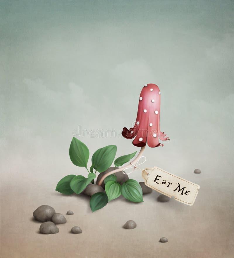 O cogumelo vermelho venenoso com o Tag bebe-me Ea ilustração do vetor
