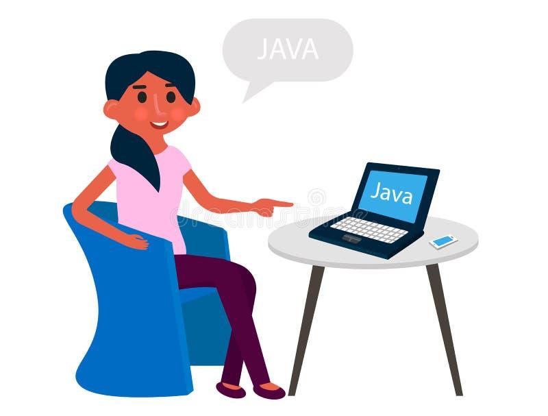 O colaborador da moça tem um resto no armcheir do escritório Programador que trabalha no computador Ilustração do vetor ilustração stock