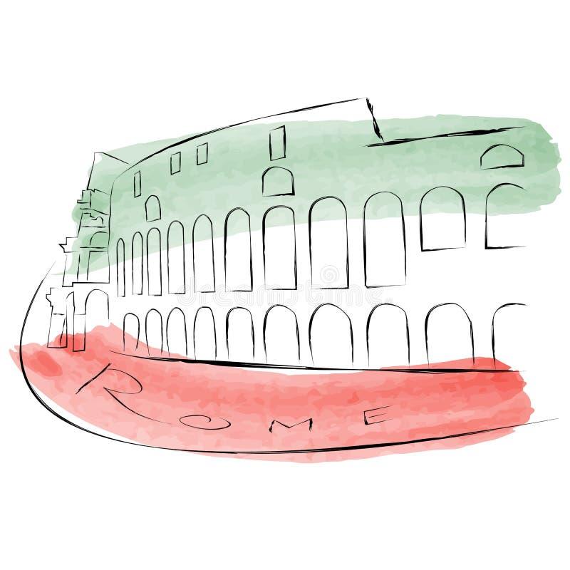 O Colosseum é pintado nas aquarelas em cores nacionais ilustração stock