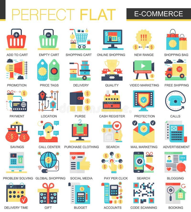 O comércio eletrônico e o desenvolvimento digital vector símbolos lisos complexos do conceito do ícone para o projeto infographic ilustração royalty free