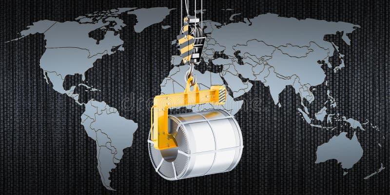 O comércio global do aço bobina o conceito, rendição 3D ilustração do vetor