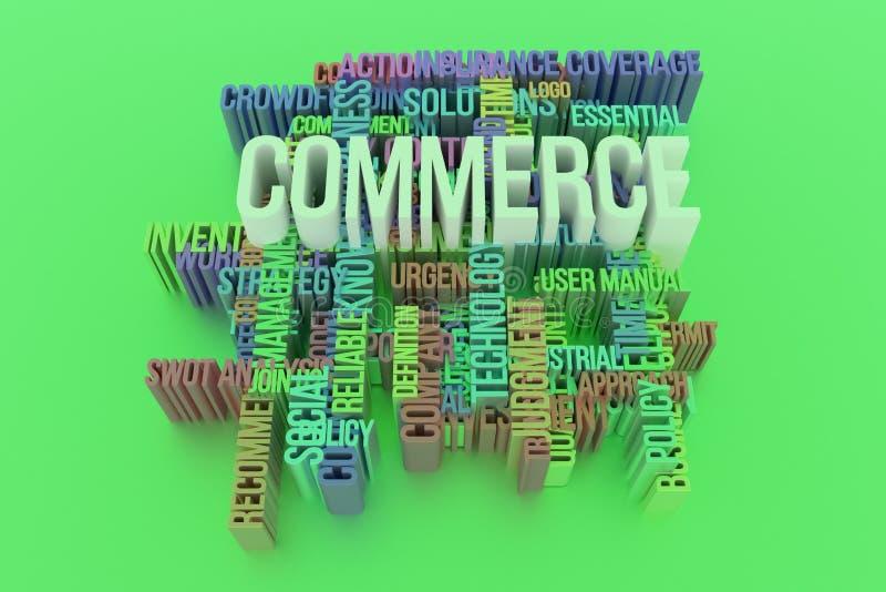 O comércio, a palavra-chave do negócio e as palavras nublam-se Para o p?gina da web, o projeto gr?fico, a textura ou o fundo rend ilustração do vetor