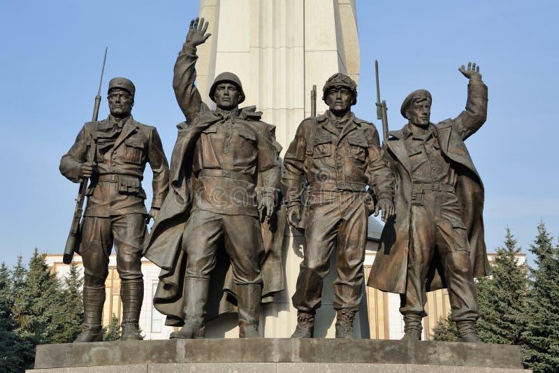 O combate alia - monumento em Victory Park - o complexo memorável de WWII imagem de stock