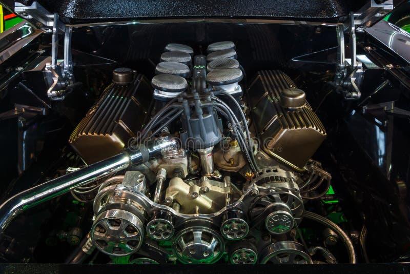 O combustível injetou o bloco 460 grande o motor 550 HP de Ford, 7,5L de Ford Mustang, 1967 fotos de stock