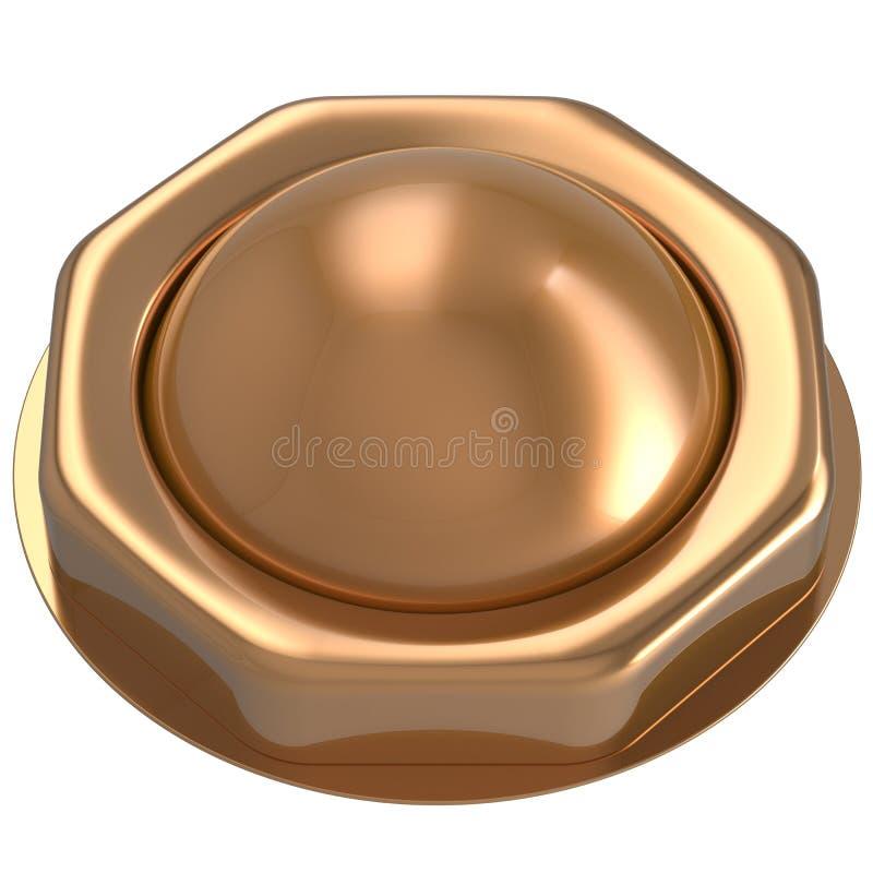 O começo do ouro do botão gerencie fora na ação abaixa para ativar o poder ilustração royalty free