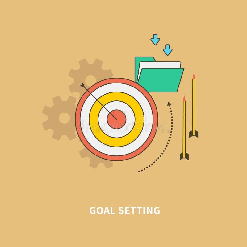 O começo do processo de negócios é ajuste do objetivo ilustração do vetor