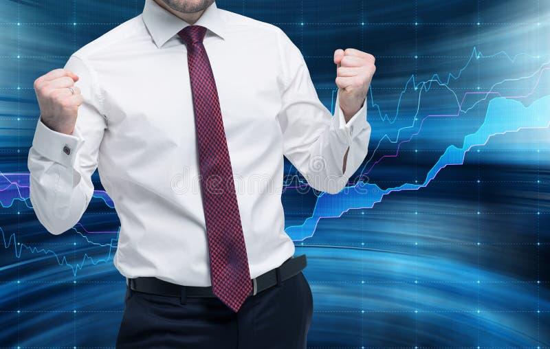 O comerciante bem sucedido obtém uma recompensa maciça Conceito da gestão de portfólio imagens de stock