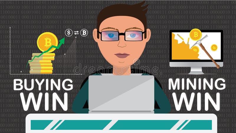 O comerciante esperto que faz a operação do cryptocurrency gosta de minar ou comprar ilustração do vetor