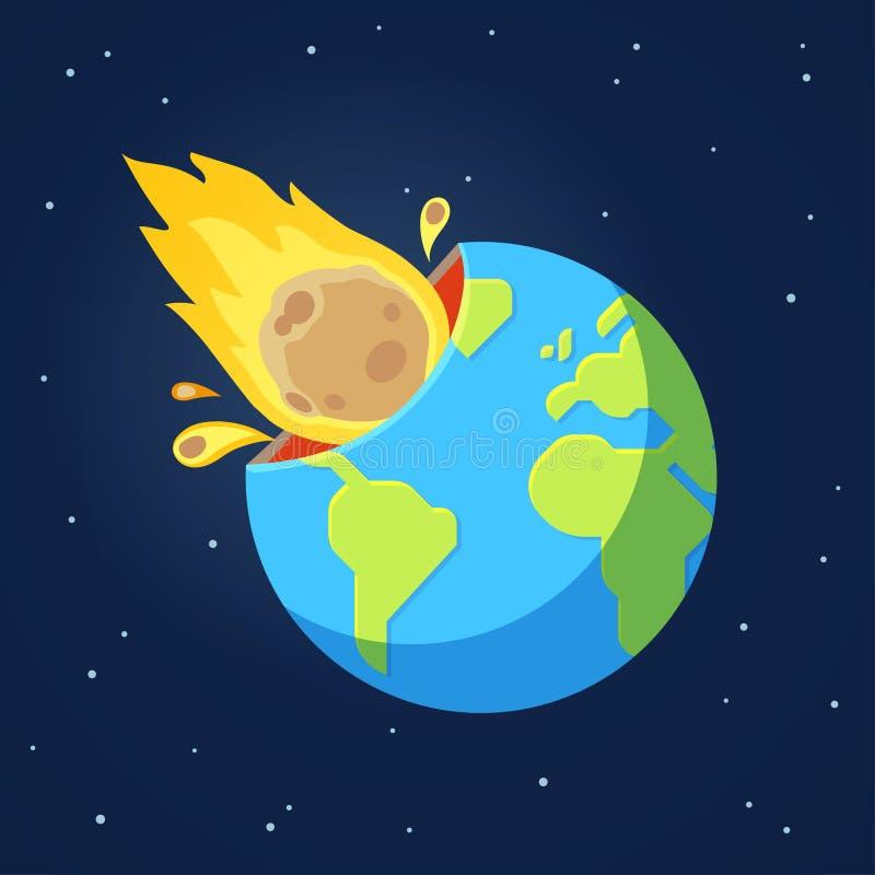 O cometa asteroide bate a terra ilustração royalty free